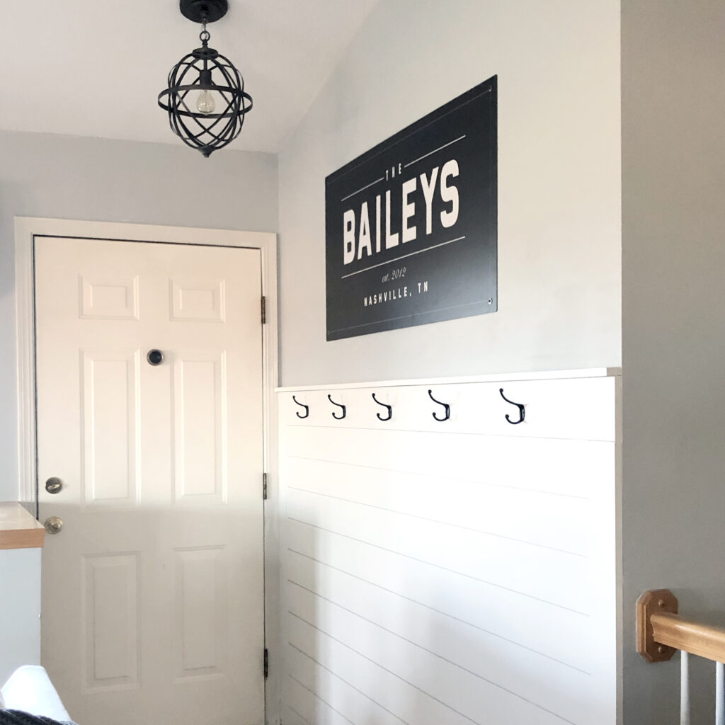 Shiplap to dress up a boring entryway!