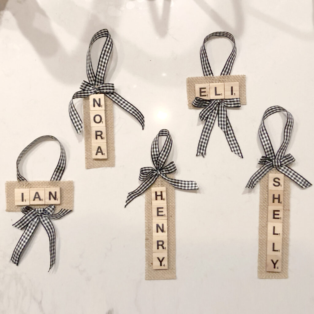 diy scrabble name ornaments